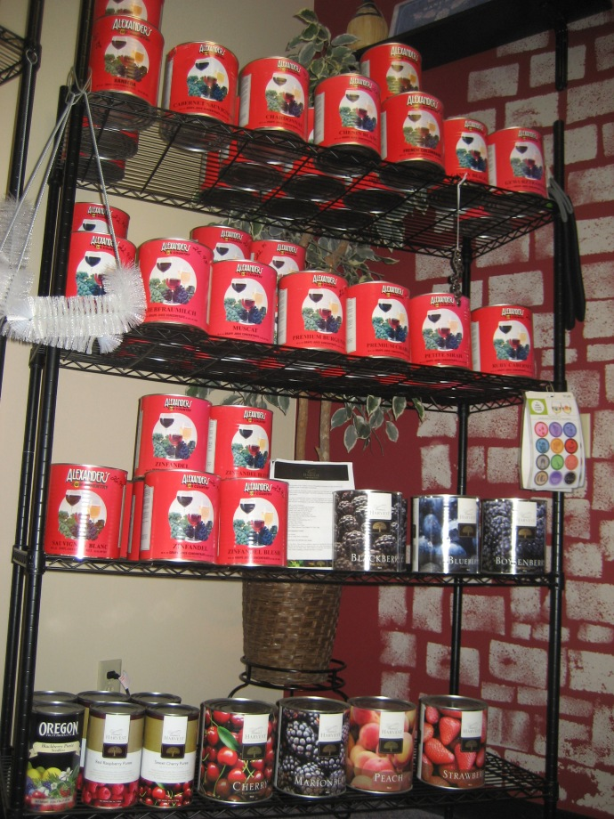 We sell all kinds of wine making ingrediants like cans of juice